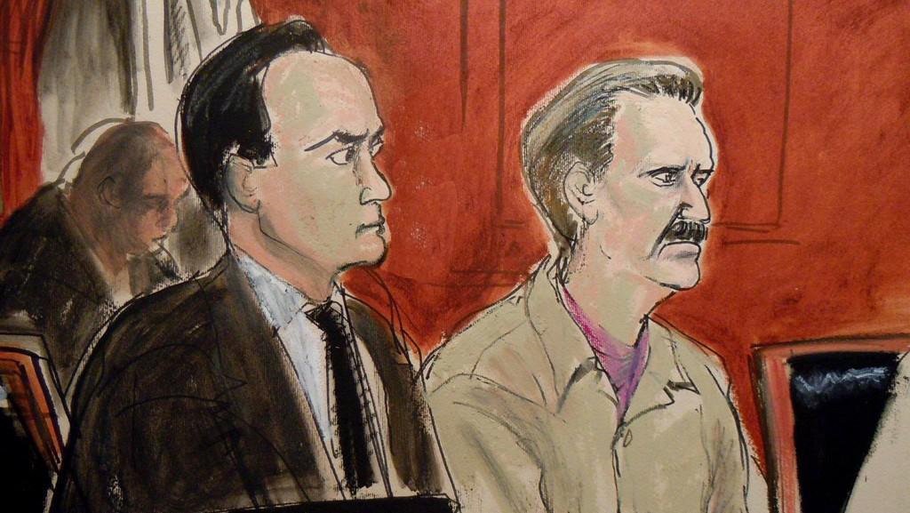 Ilustrace Viktora Buta a jeho obhájce Alberta Dayana před newyorským soudem