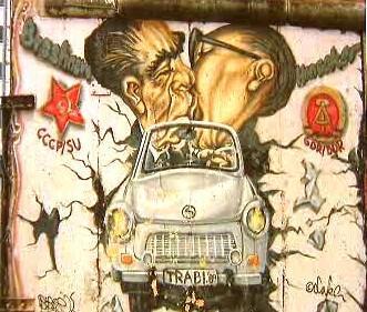 Karikatura Brežněva a Honeckera