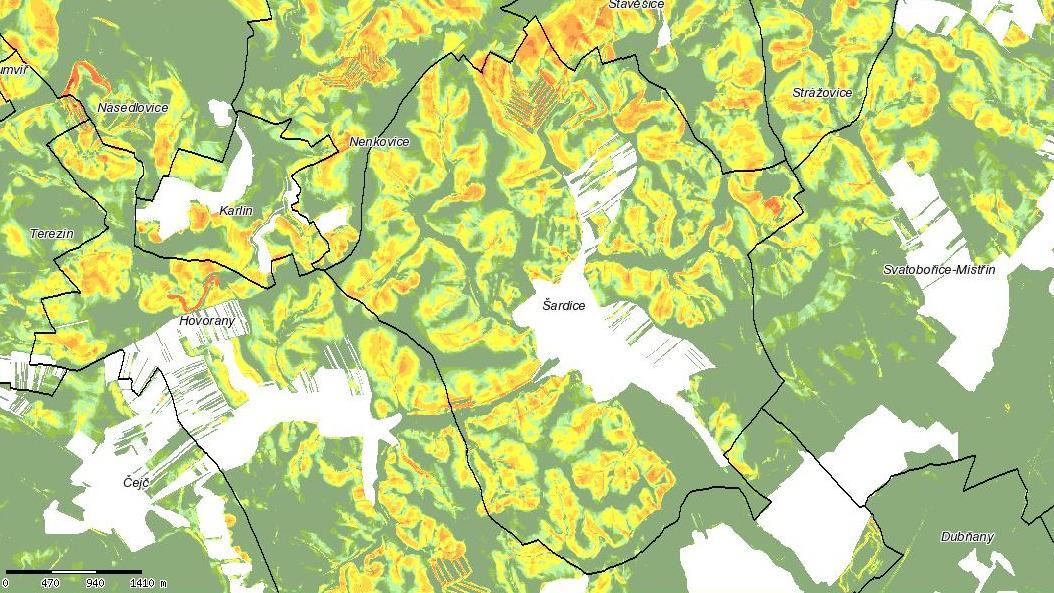 Erozní mapa katastru Šardic