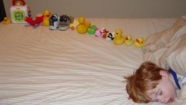 Hračky autistického chlapce vyskládané do řady