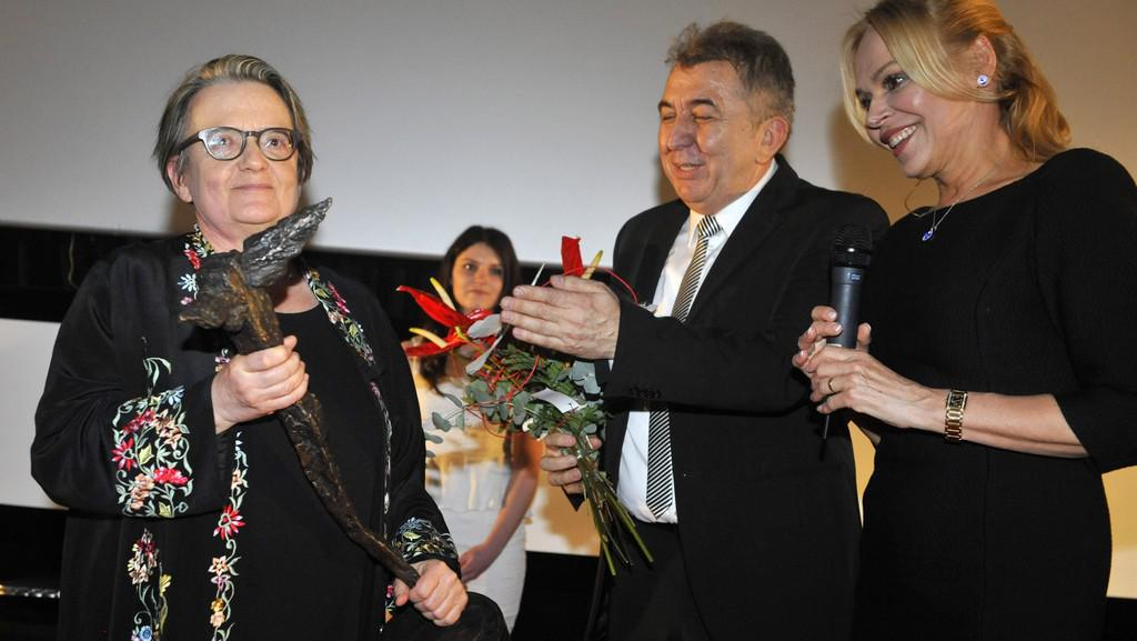 Agnieszka Hollandová přebírá cenu Kristián