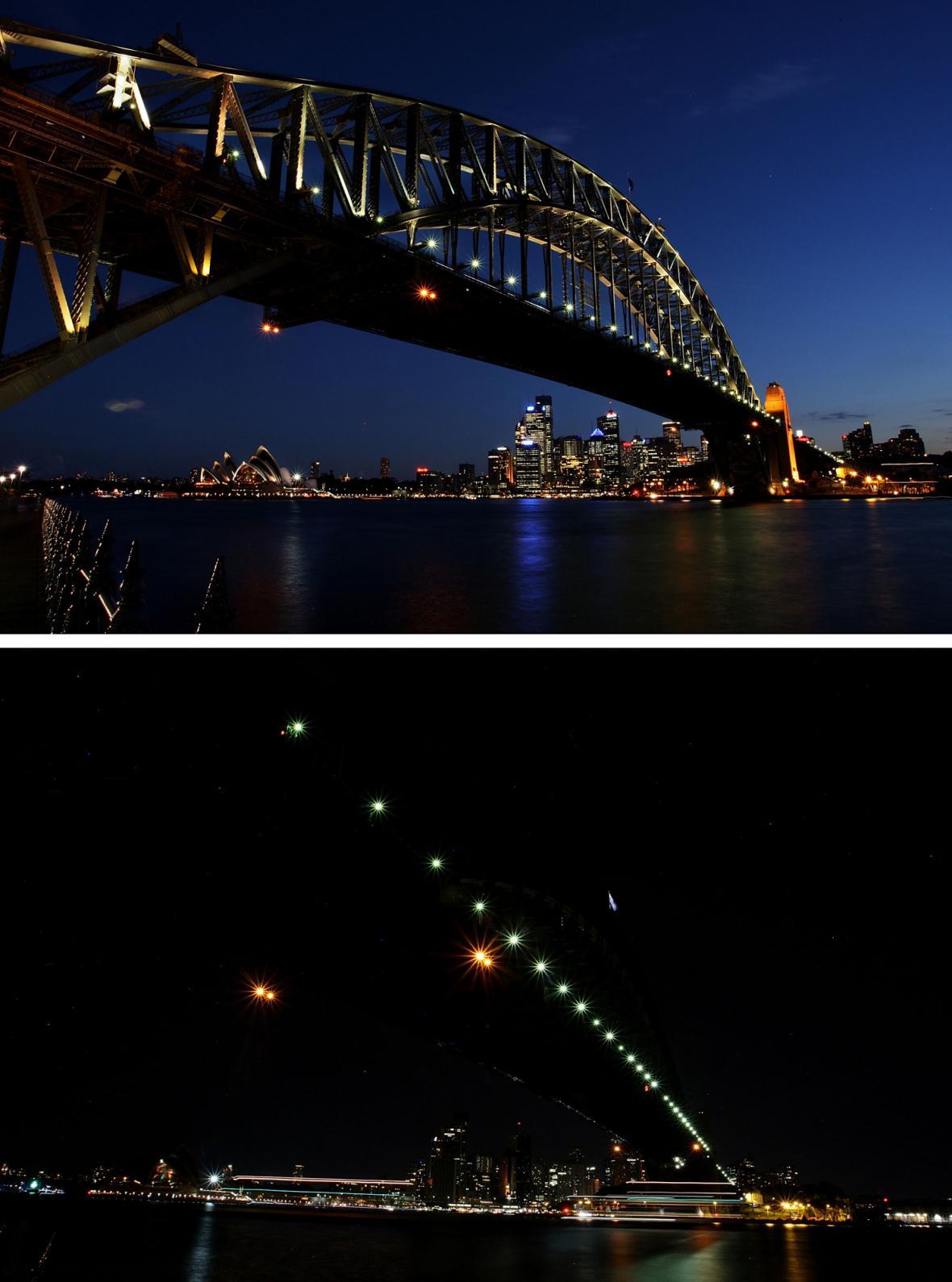 Harbour Bridge rozsvícený a zhasnutý