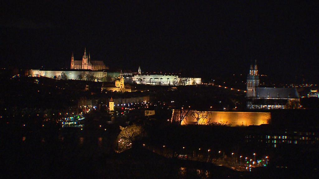 Rozsvícený Pražský hrad a Vyšehrad