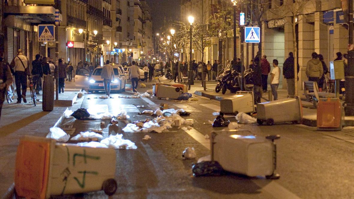 Následky demonstrace v Madridu