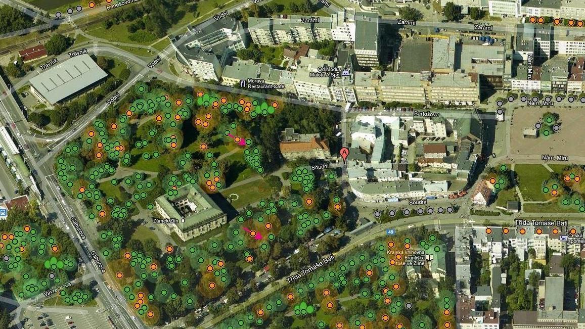 Sady Svobody na interaktivní mapě