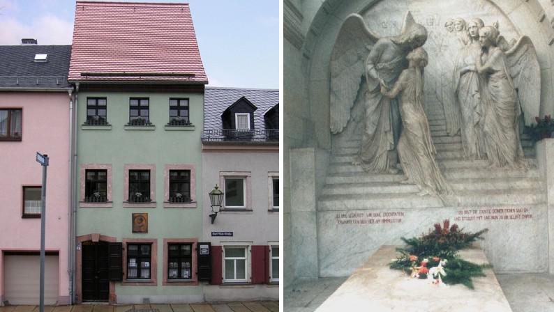 Rodným dům K. Maye v Ernstthalu (vlevo) / Hrob K. Maye v Radebeulu (vpravo)