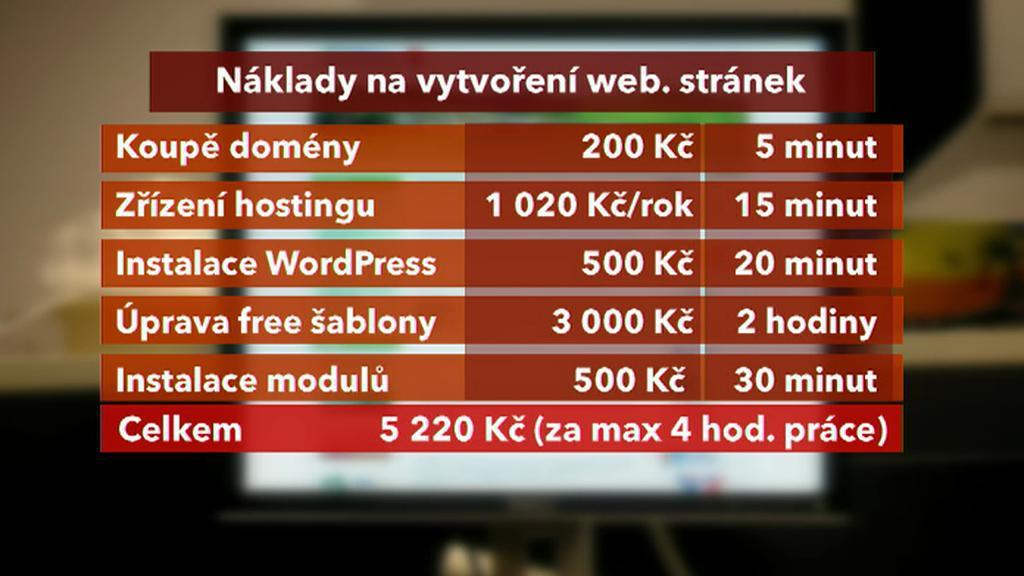 Náklady na vytvoření webu