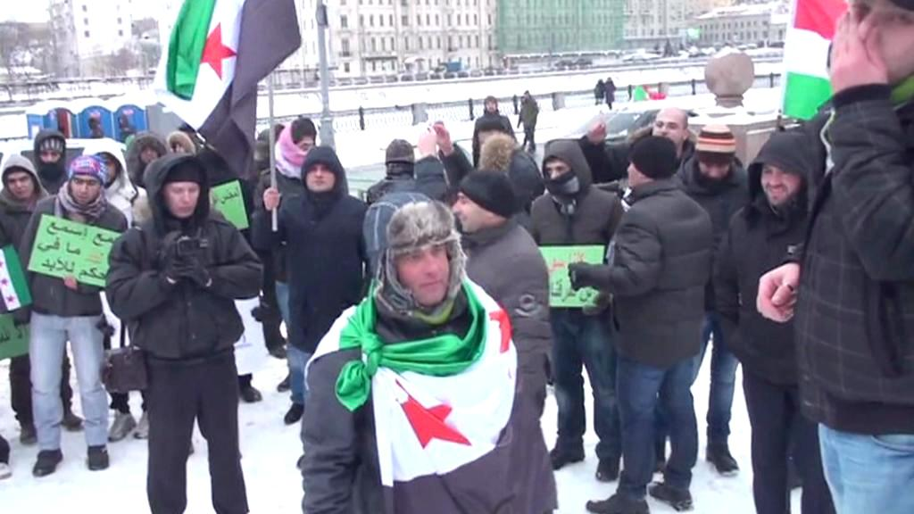 Demonstrace Syřanů žijících v Moskvě