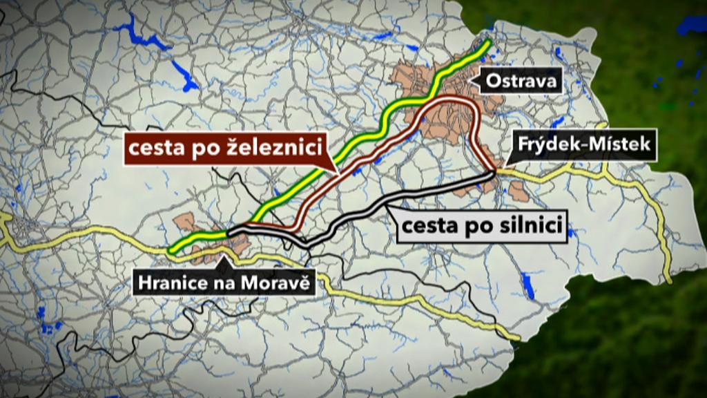 Trasa autobusové linky mezi Hranicemi a Frýdkem-Místkem