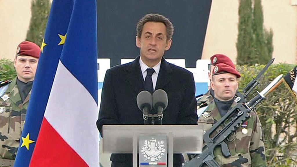 Projev Nicolase Sarkozyho na pohřbu zabitých vojáků v Montaubanu