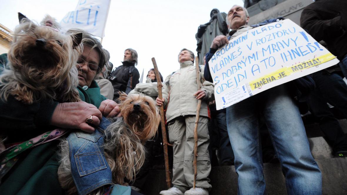 Demonstrace na Václavském náměstí v Praze