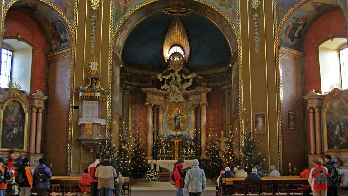 Chrám se sochou Panny Marie s blesky na Svatém Hostýně