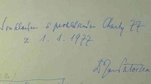 Charta 77 - podpis Jana Patočky