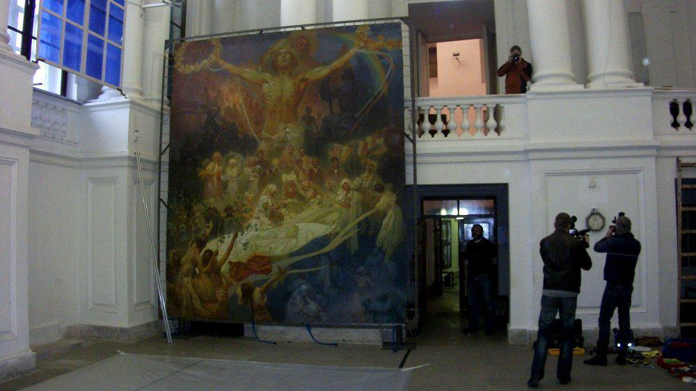 Stěhování posledních pláten Slovanské epopeje