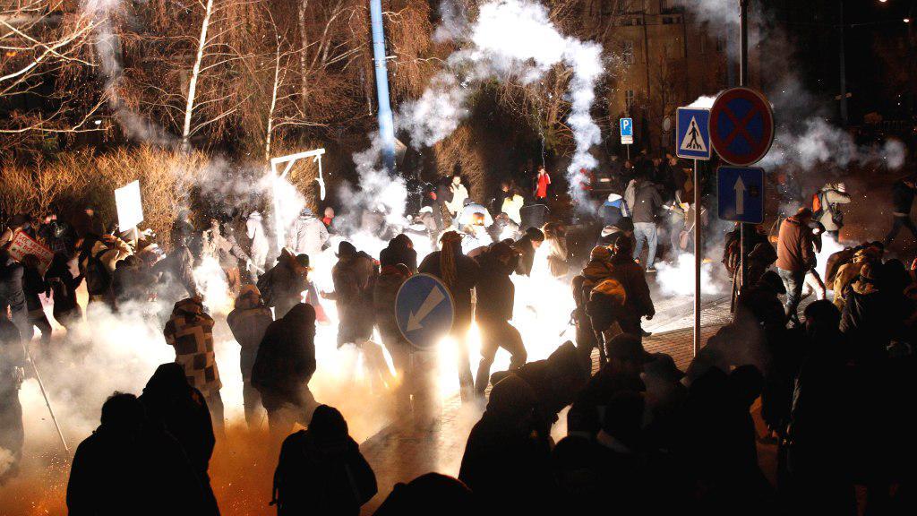 Potyčky s policií v Bratislavě