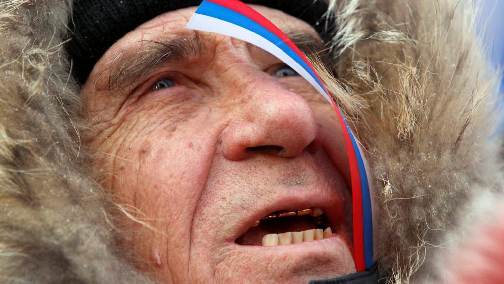 Demonstrace na podporu Vladimira Putina