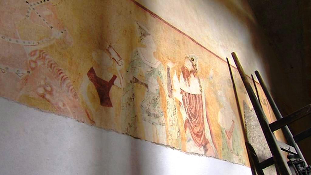Freska na stěně žumberského kostela