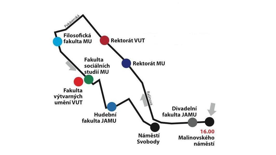 Trasa 2. pochodu studentů v Brně (autor: Týden neklidu)
