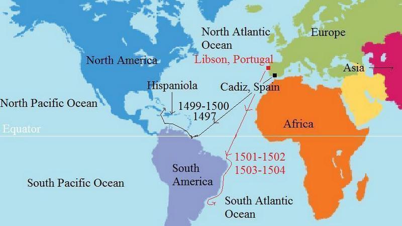 Mapa plaveb Ameriga Vespucciho