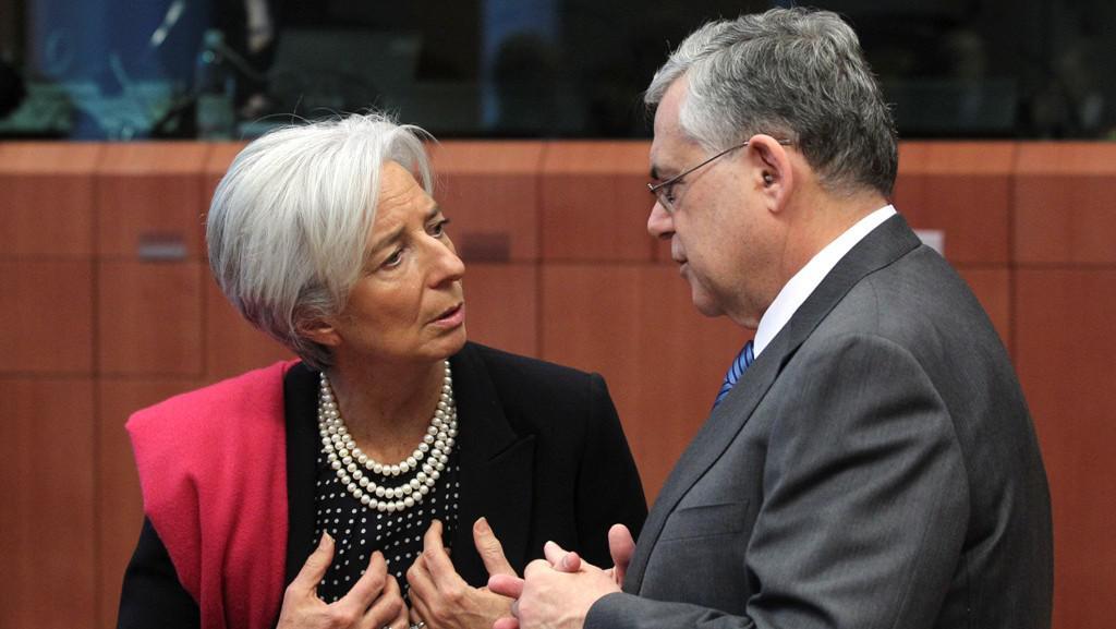 Christine Lagardeová a Lucas Papademos
