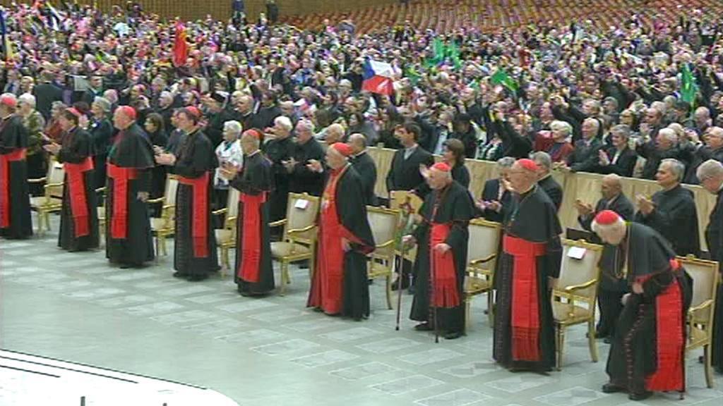 Noví kardinálové při audienci u papeže