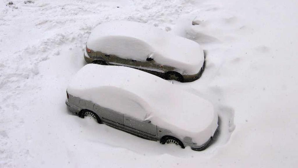 Automobily zapadané sněhem