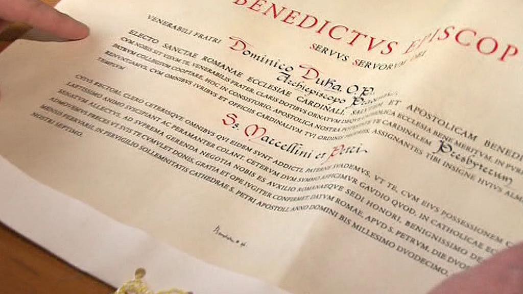 Jmenovací dekret kardinála Dominika Duky