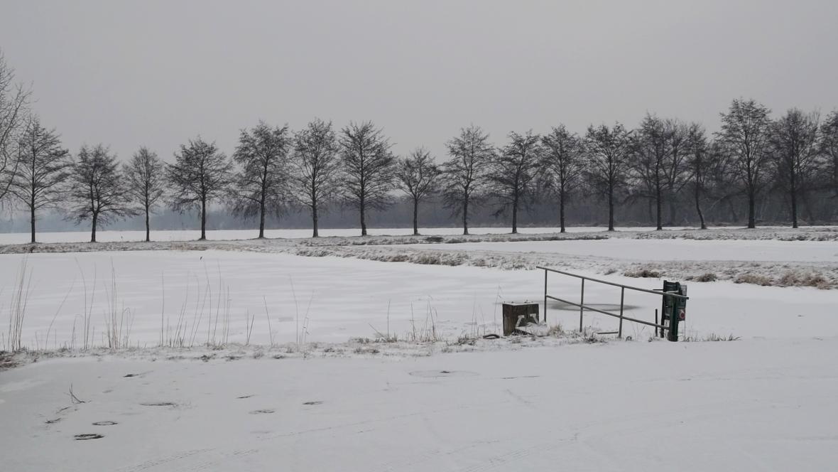 Zamrzlé rybníky u Hodonína