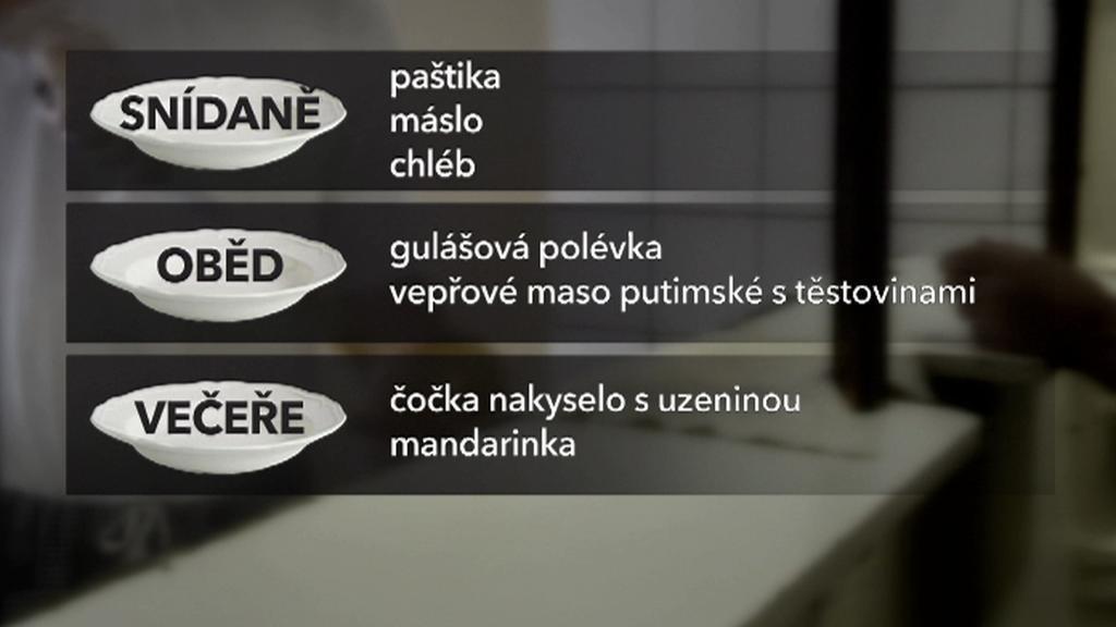 Příklad menu ve Valdicích