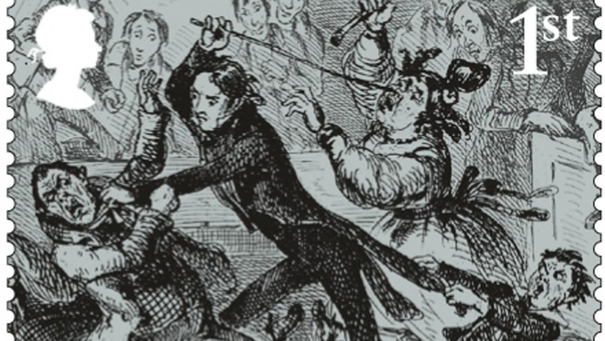 Známka s motivy z Dickensova románu Nicholas Nickleby