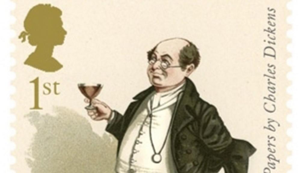 Známka s motivy z Dickensova románu Kronika Pickwickova klubu