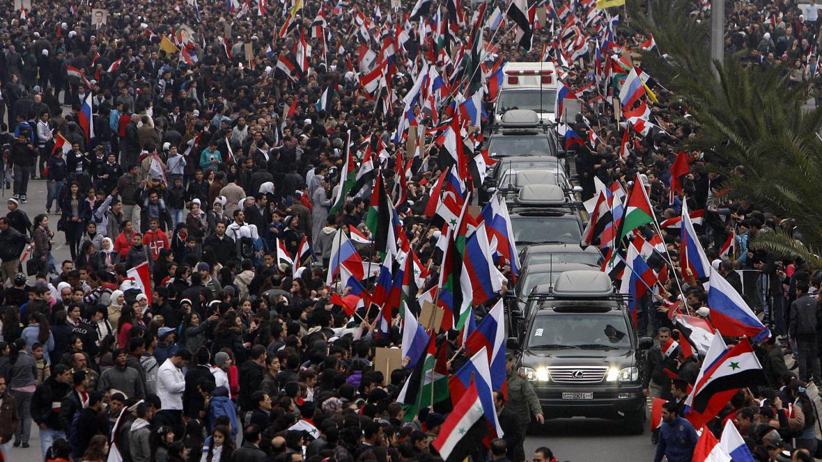 Kolona ruského ministra zahraničí v Damašku