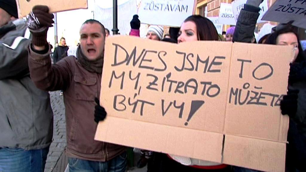 Studenti plzeňských práv protestují