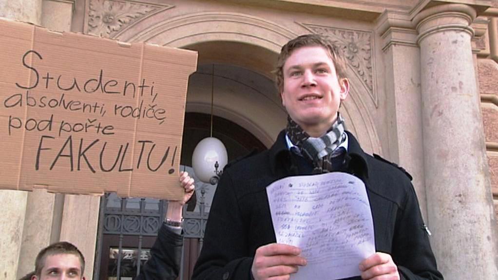 Protest studentu proti rušení plzeňských práv