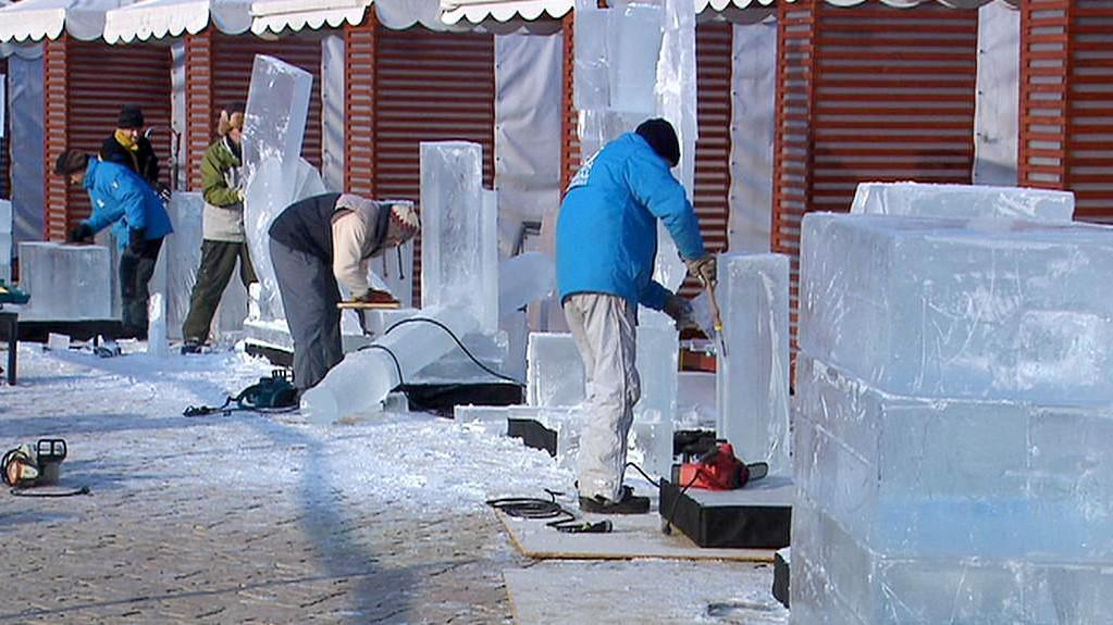 Ledové sochy v pražských Vysočanech