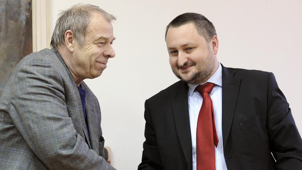 Jaroslav Zavadil a Karel Machotka po jednání o systému vyplácení dávek