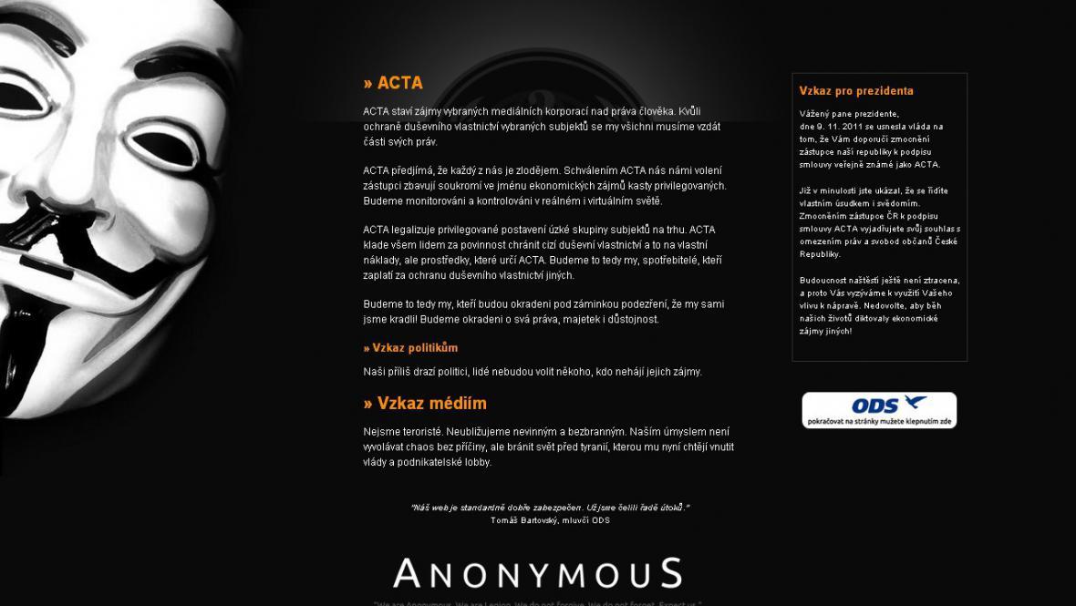 Webové stránky ODS v časných ranních hodinách
