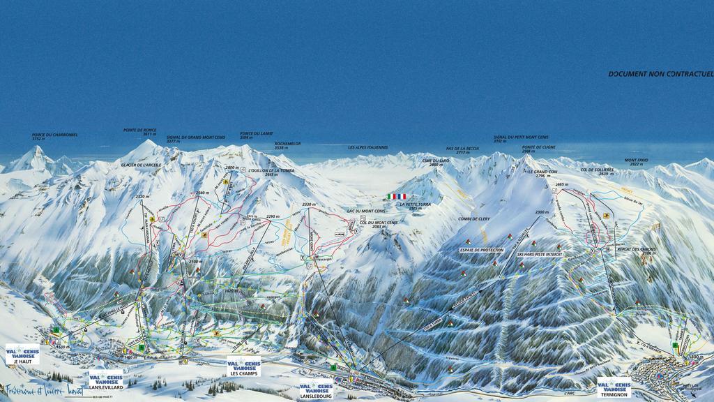 Plán lyžařského střediska Val Cenis