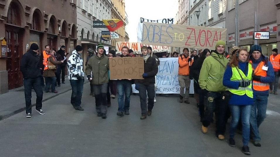 Pochod studentů v Brně