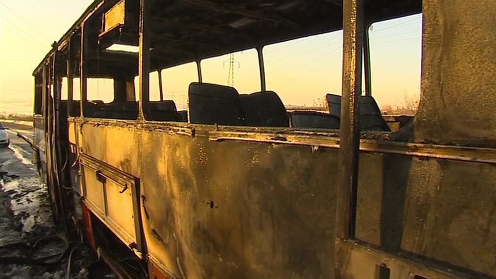 Vyhořelý autobus