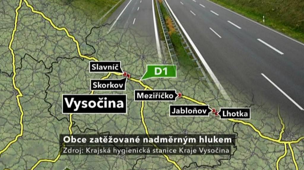 Obce postižené hlukem z dálnice D1