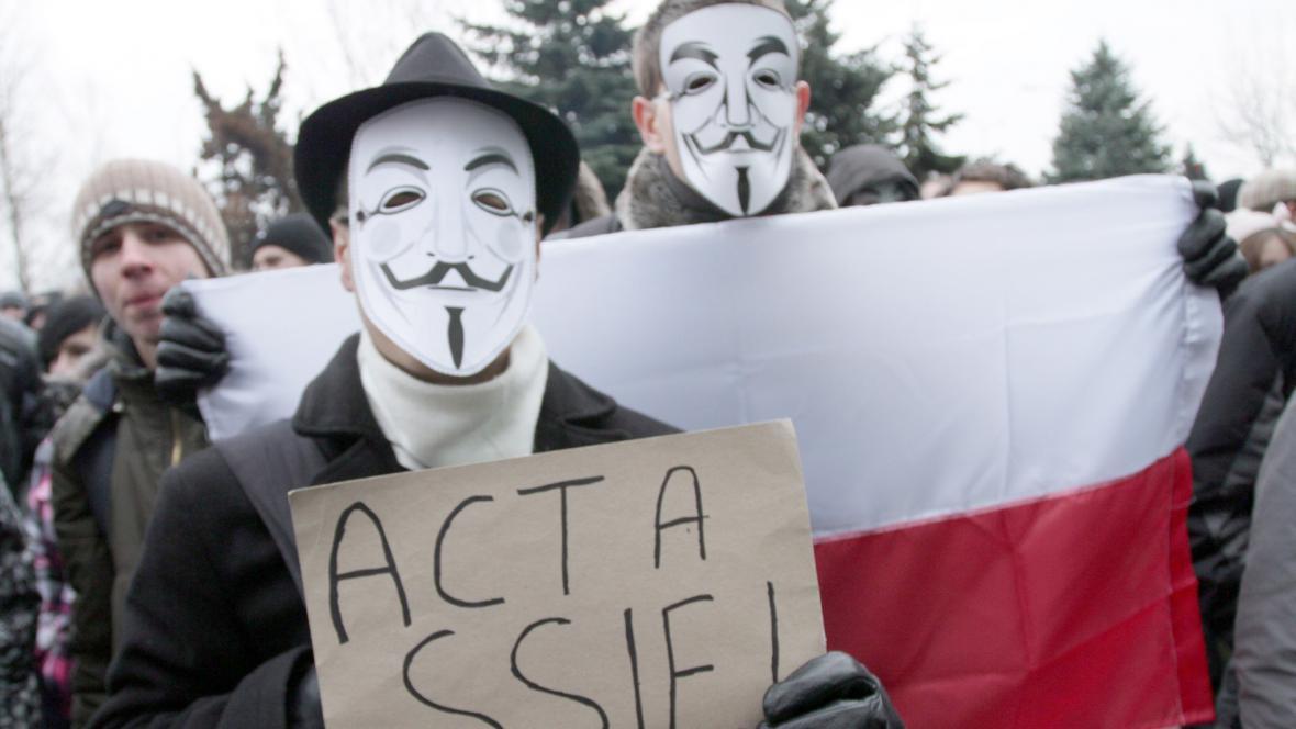 Protesty proti podpisu smluvy ACTA v Polsku