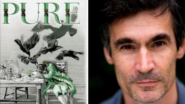 Andrew Miller a přebal jeho románu Pure (Čistý)