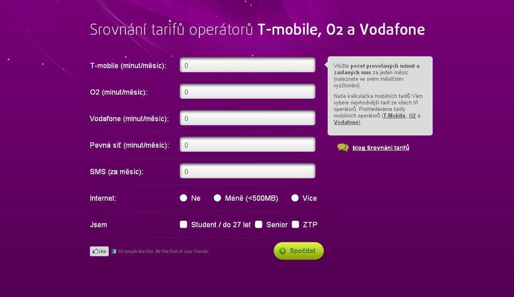 Cenová kalkulačka mobilních tarifů