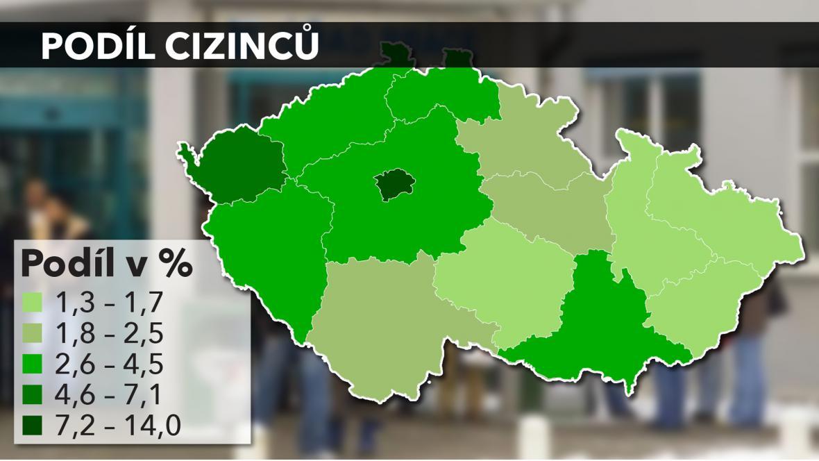 Podíl cizinců podle krajů v ČR