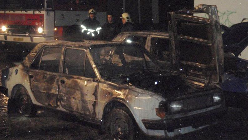 Požár aut v Tlumačově