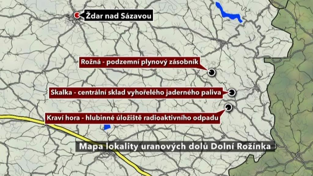 Mapa uranových dolů na Žďársku