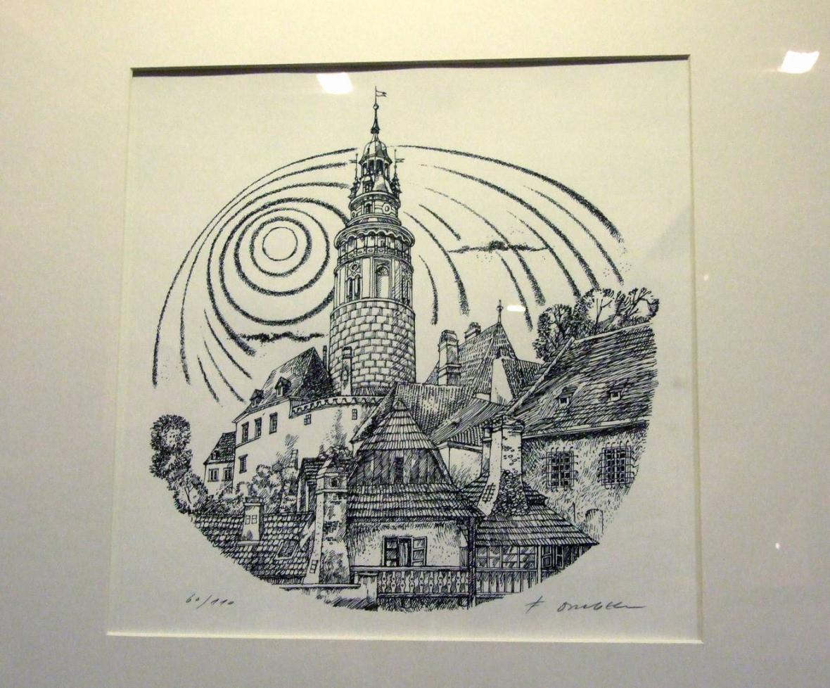 Z výstavy prací Františka Doubka v Písku - Český Krumlov