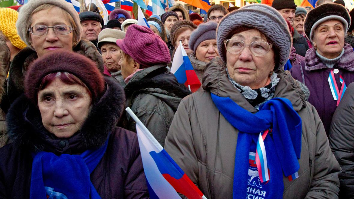 Demonstrace Putinových příznivců u Kremlu