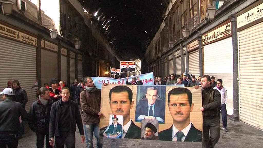 Provládní demonstrace v Damašku